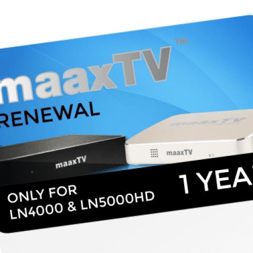 MAAXTV LN4000/5000 - 1 Year Renewal Card / PIN