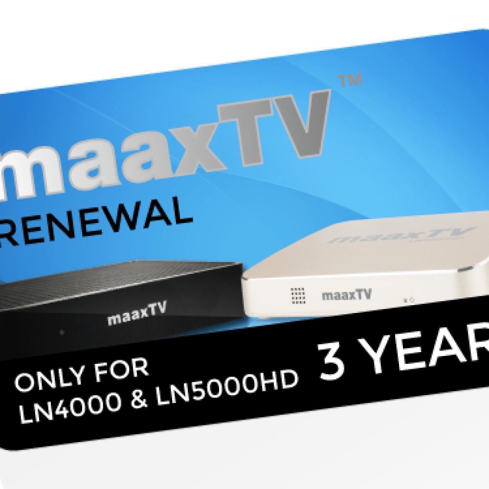 MAAXTV LN4000/5000 - 3 Year Renewal Card / PIN