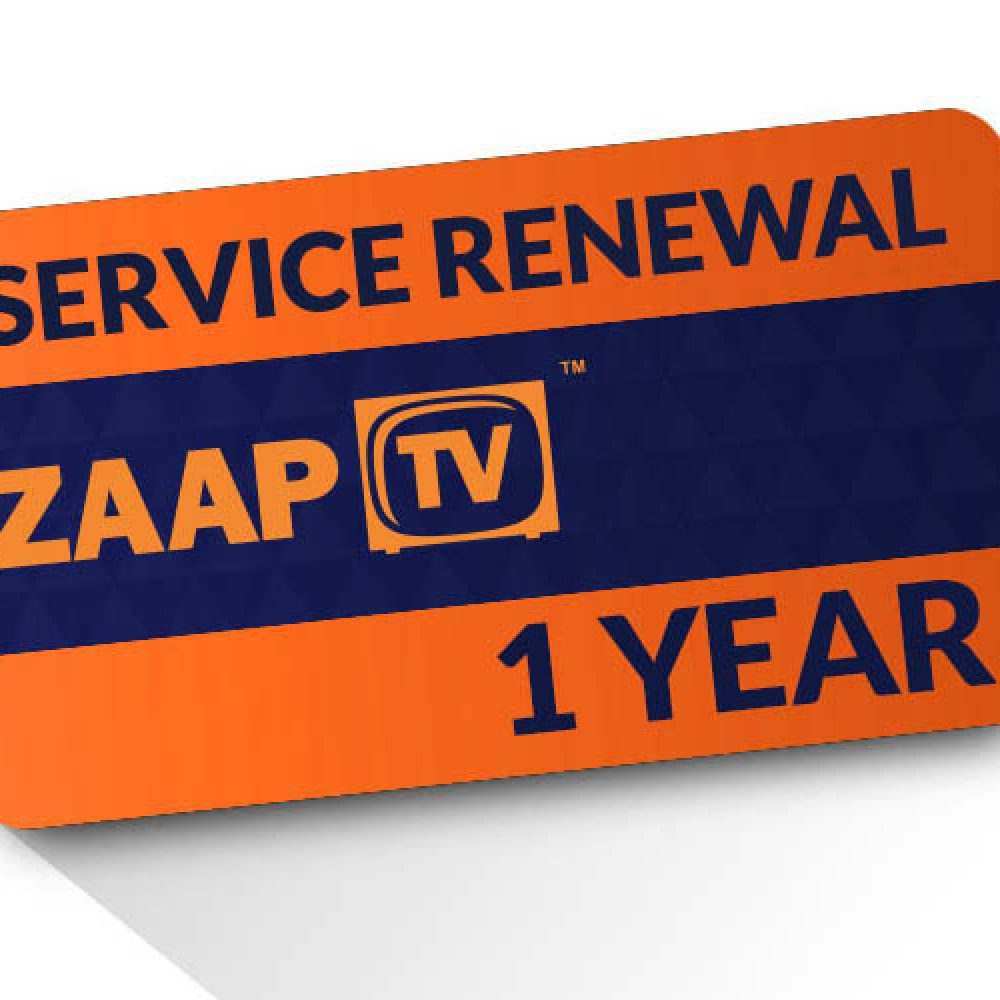 ZAAPTV 1 Year Renewal Card