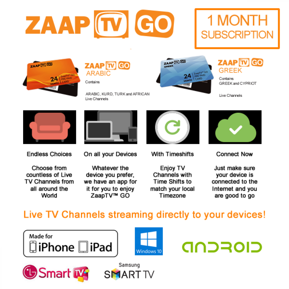 ZAAPTV GO Monthly Subscriptions