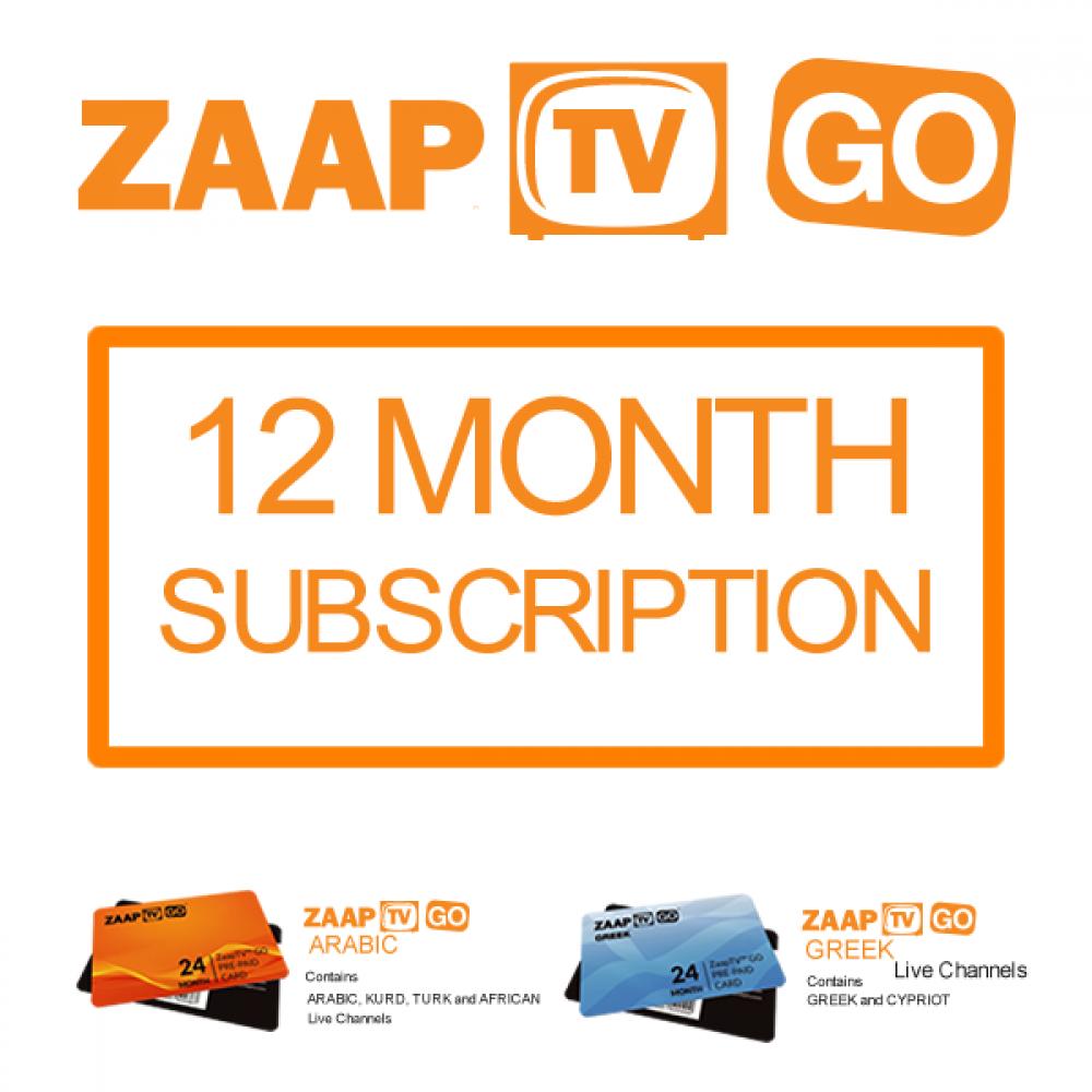 ZAAPTV GO 12 Month Subscription