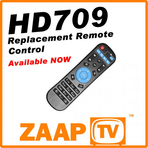 ZAAPTV HD709 Remote Control